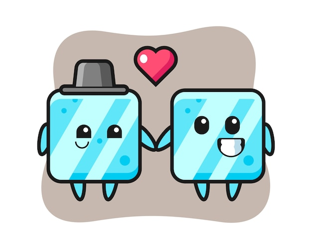 Ice cube cartoon character couple with fall in love gesture