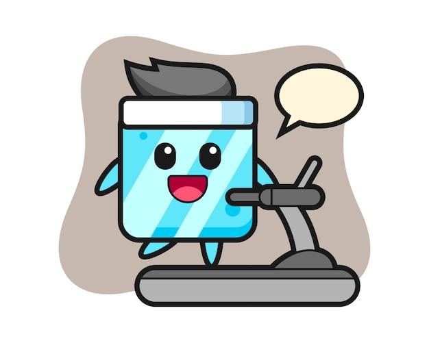 Ice cube cartoon character walking on the treadmill