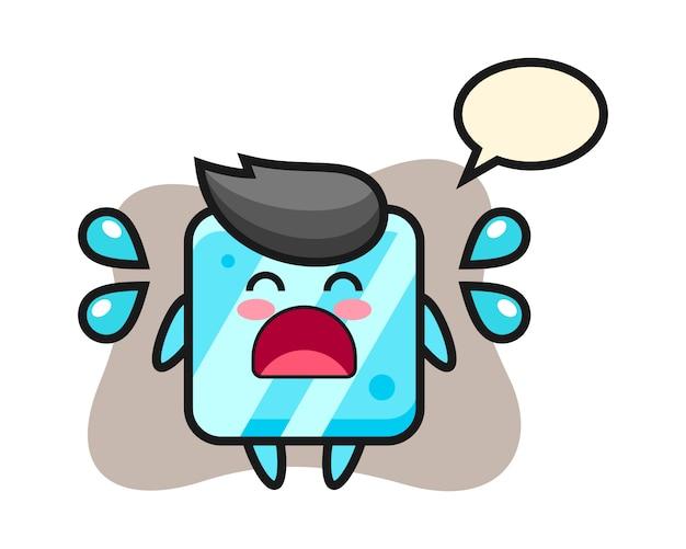 Иллюстрация шаржа кубика льда с жестом плача