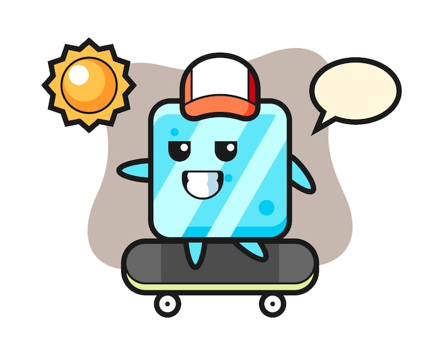 Ice cube character illustration ride a skateboard