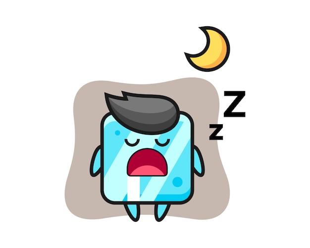 Ice cube character illustration sleeping at night