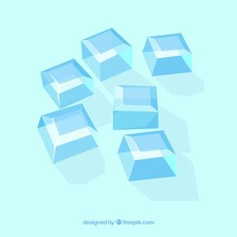 Collezione di cubetti di ghiaccio con deisgn piatto