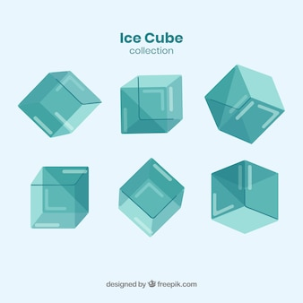 Ice cube collection with flat deisgn