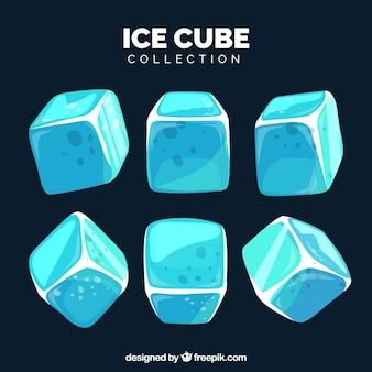 Коллекция кубиков льда с плоским дизайном