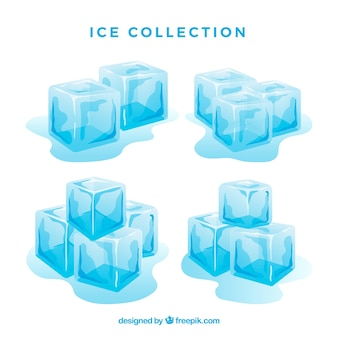 Ice cube collection with flat design