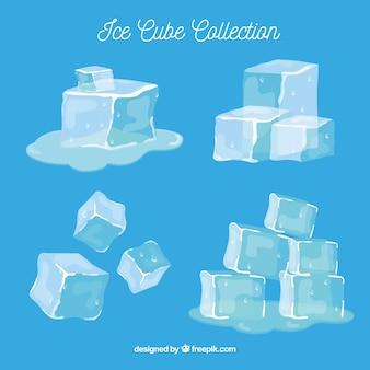 Коллекция кубиков льда с ручным рисунком