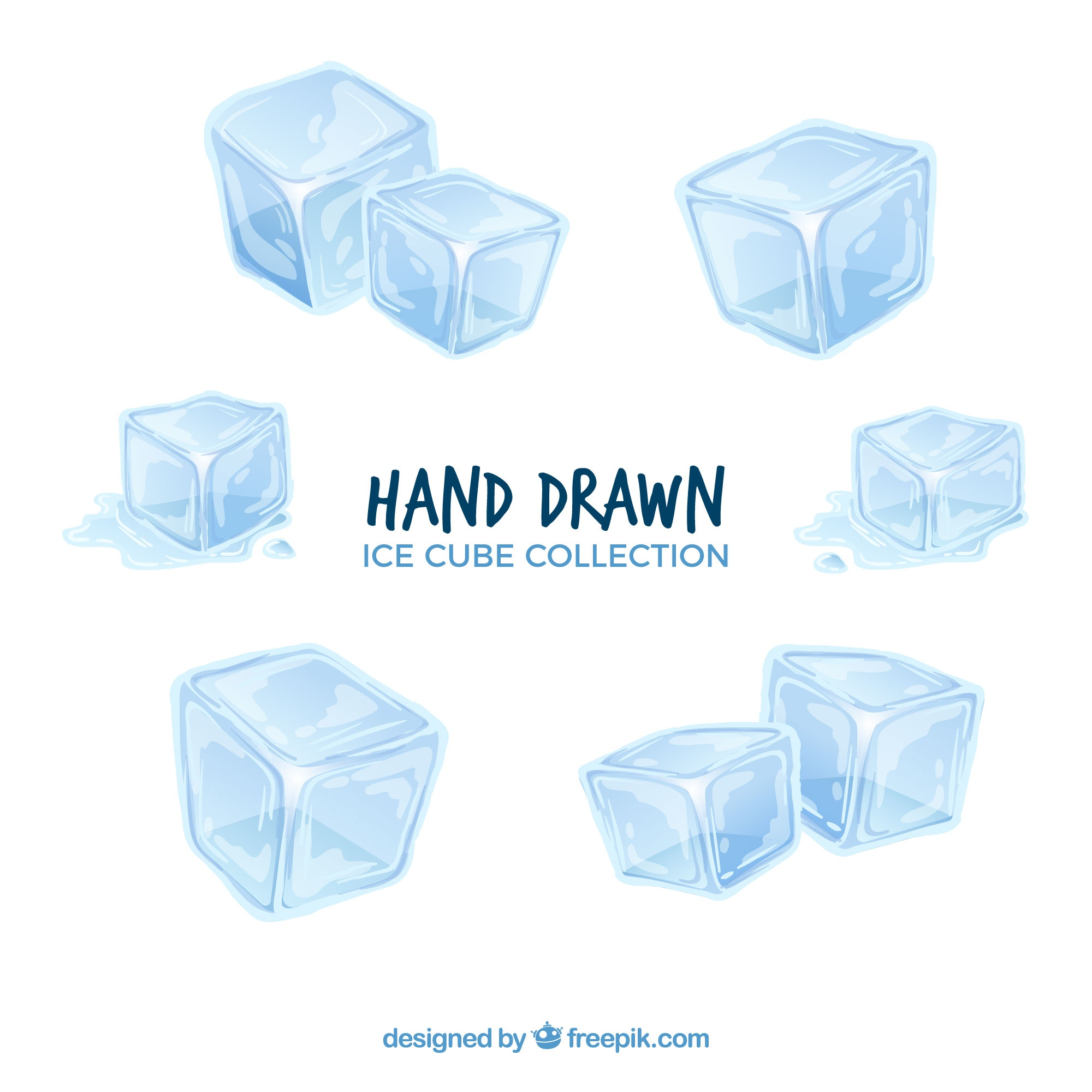 Ice cube collection with hand drawn style
