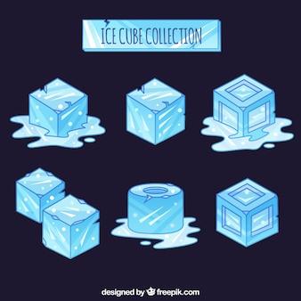 Collezione di cubetti di ghiaccio con stile disegnato a mano