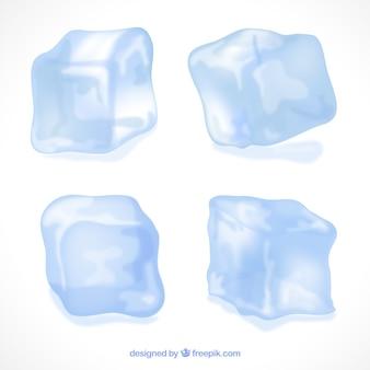 Collezione di cubetti di ghiaccio dal design realistico