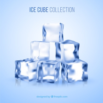 Ice cube collection with realistic style