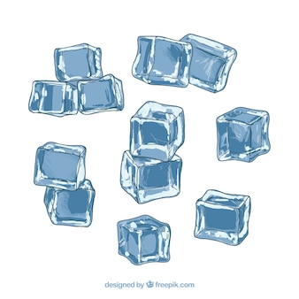Ice cube collection with watercolor style