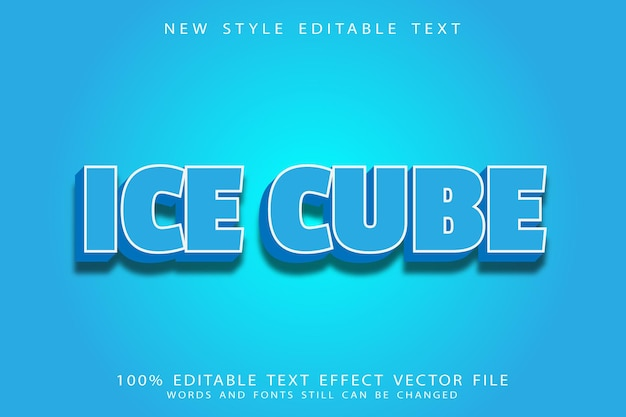 Ice cube editable text effect emboss modern style
