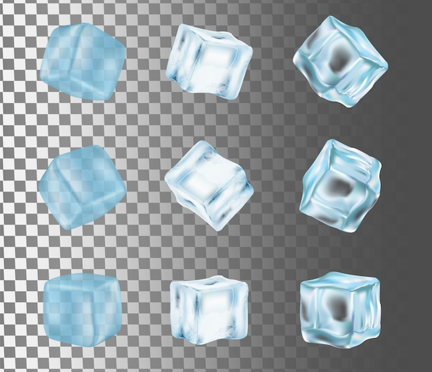 Ice cube isolated vector realistic illustration