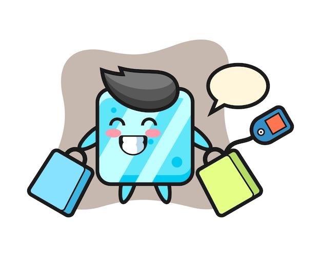 Мультфильм талисман кубика льда держит сумку для покупок