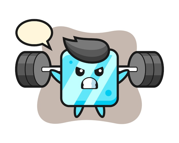 Ice cube mascot cartoon with a barbell