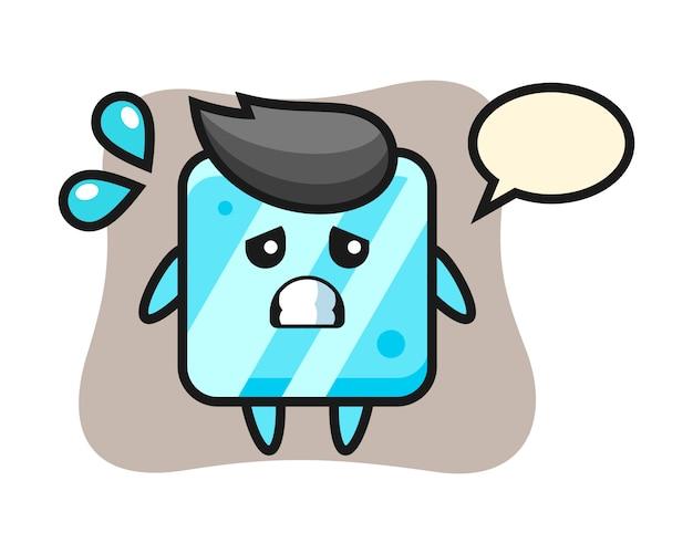 Персонаж талисмана кубика льда с жестом страха