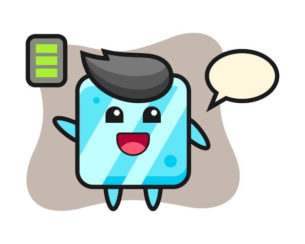 Персонаж талисмана кубика льда с энергичным жестом