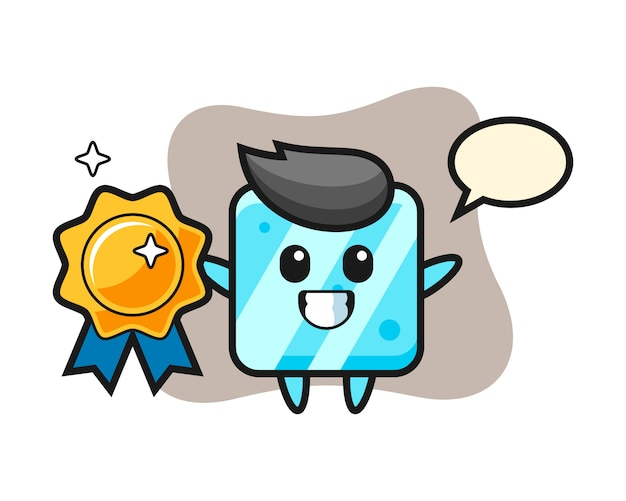 Ice cube mascot illustration holding a golden badge