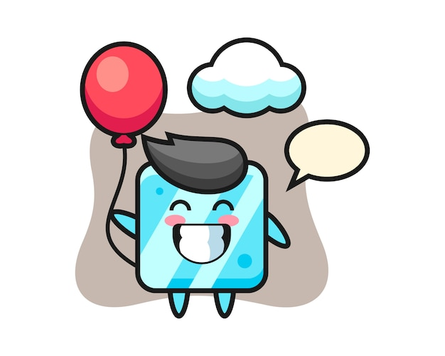 Ice cube mascot illustration is playing balloon
