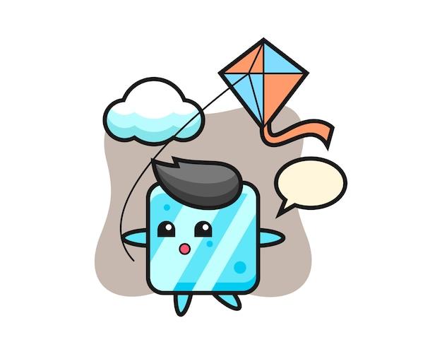 Иллюстрация талисмана кубика льда играет воздушного змея
