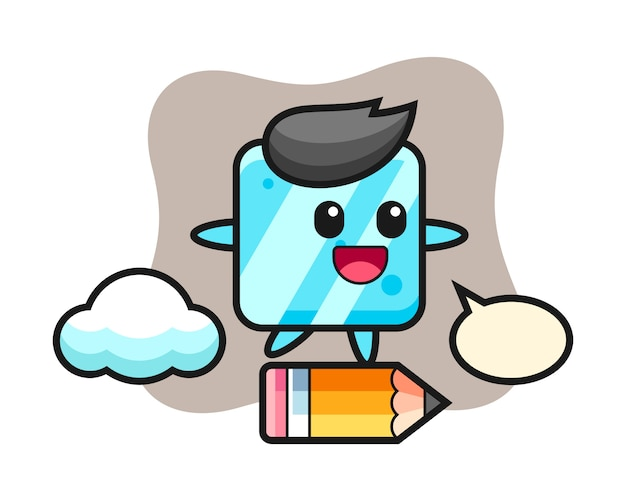 Ice cube mascot illustration riding on a giant pencil