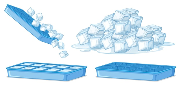 白の角氷 Premiumベクター
