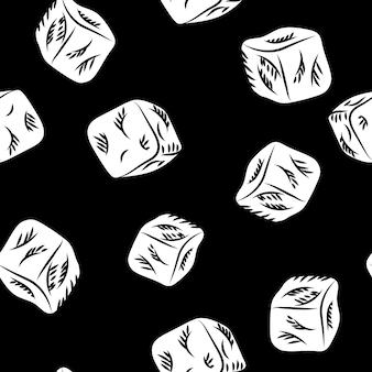 칠판에 아이스 큐브 스케치 완벽 한 패턴입니다. 흑백 아이스 큐브 끝없는 벽지. 음식 메뉴 벡터 일러스트 레이 션. 펍 메뉴, 카드, 배너, 지문, 포장을 위한 디자인. 조각 스타일입니다. 프리미엄 벡터