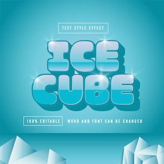 Ice cube text effect free premium download vector