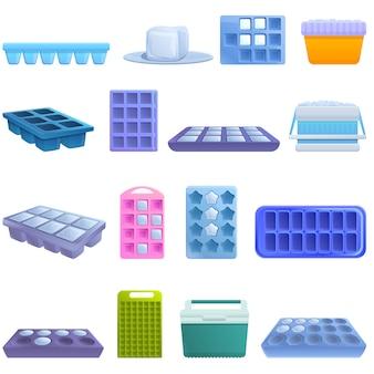 아이스 큐브 트레이 아이콘을 설정합니다. 아이스 큐브 트레이 벡터 아이콘의 만화 세트