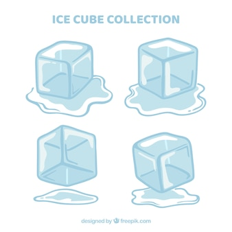 Ice cubes collection in hand drawn style