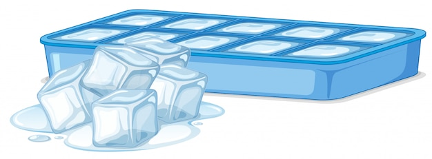 Ice cubes in ice box on white