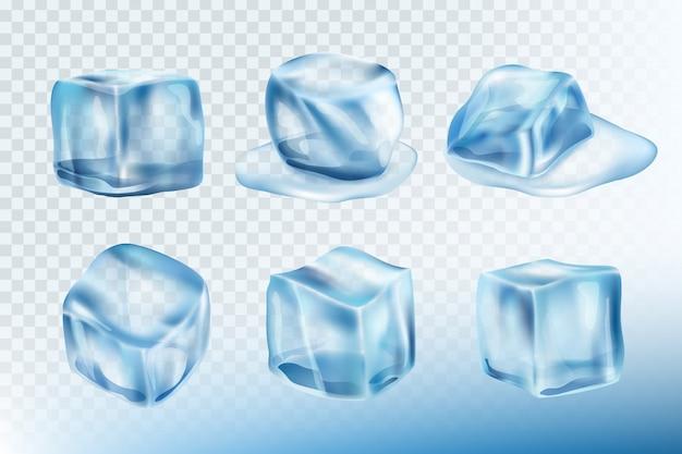 Кубики льда реалистичные. лужи пятна и брызги от замерзшей воды коллекция фотографий