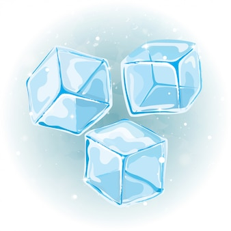 Ice cubes vector set on watercolor background.