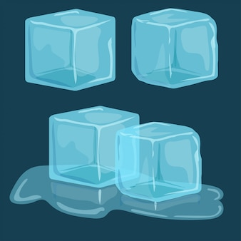 아이스 큐브 벡터 세트 프리미엄 벡터