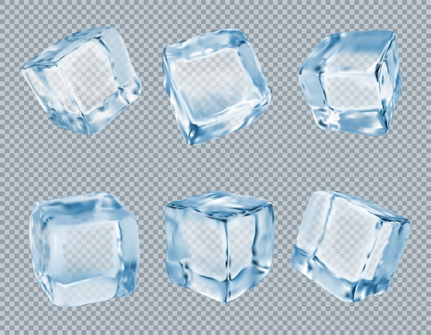 Ice cubes vector set