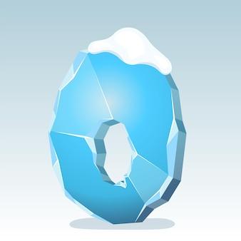 상단에 눈이 있는 얼음 숫자 0, 벡터 글꼴