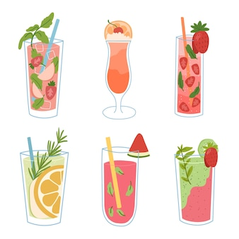 Ice drink,cold coctails with fruits and mint. hand drawn set
