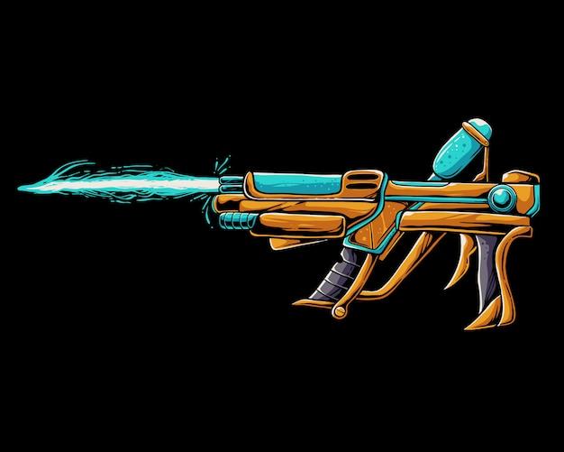 Ice gun illustration. alien weapon cartoon