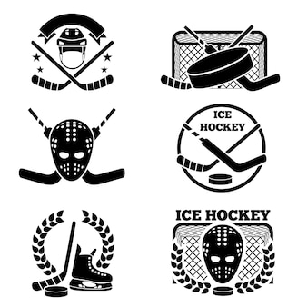 Ice hockey emblem and logo set.
