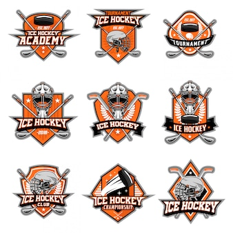 Ice hockey logo vector set