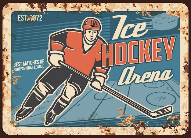 Ice hockey player on arena rusty metal plate