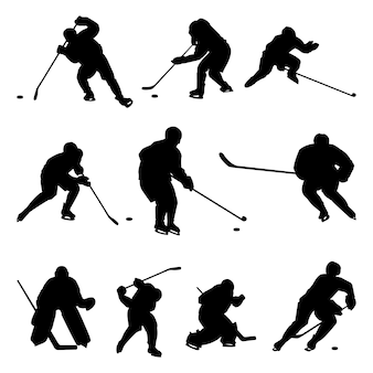 Ice hockey player black silhouette