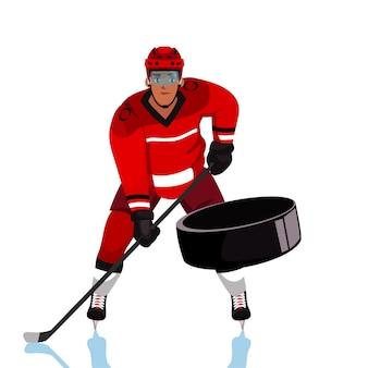 Иллюстрация хоккеиста, взрослый молодой человек в красной форме, держащий мультипликационный персонаж клюшкой. профессиональный спортсмен, член команды в защитном снаряжении, вратарь ловит шайбу