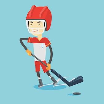 Ice hockey player vector illustration.