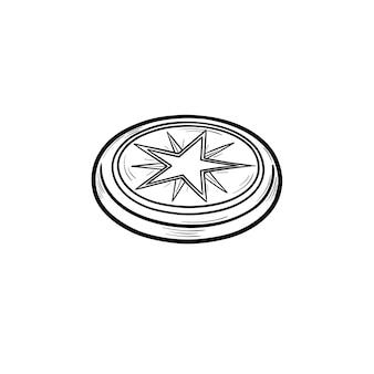 Хоккейная шайба со звездой рисованной наброски каракули значок. хоккейное оборудование, концепция зимних командных игр