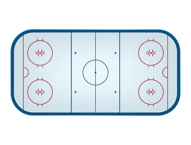 Ice hockey rink isolated, top view.
