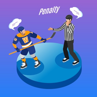 Ice hockey round isometric degrade  composition with referee sending offending player in penalty box