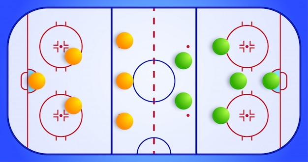 Ice hockey sport field with a tactical scheme of the arrangement of players of two teams on the playground, plan of a game diagram for a fantasy league coach board