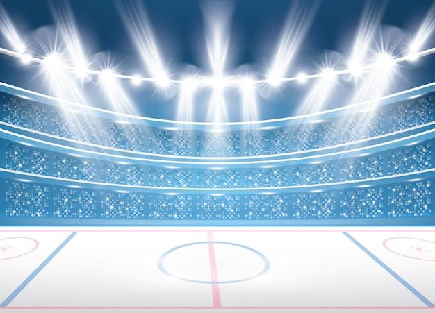 Хоккейный стадион с прожекторами. векторные иллюстрации.