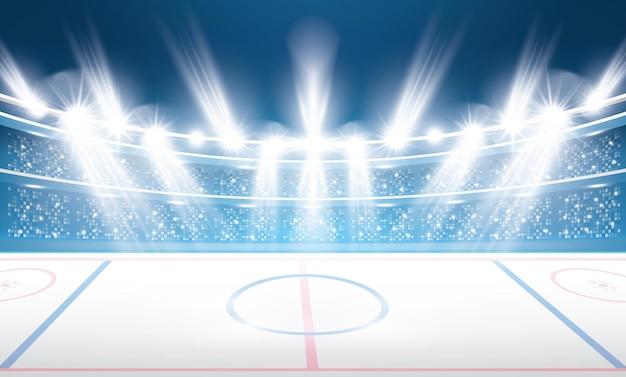 Хоккейный стадион с прожекторами.